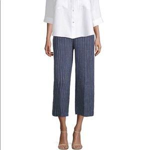 Eileen Fisher Striped Wide Leg Linen Pullon Pants